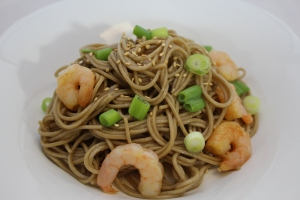 Cold soba noodles and shrimp